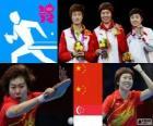 Podio Tenis de mesa femenino individual, Li Xiaoxia, Ding Ning (China) y Feng Tianwei (Singapur) - Londres 2012 -