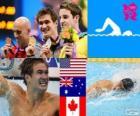 Podio natación 100 metros estilo libre masculino, Nathan Adrian (Estados Unidos), James Magnussen (Australia) y Brent Hayden (Canadá) - Londres 2012 -