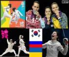 Podio esgrima sable individual femenino, Kim Ji-Yeon (Corea del Sur), Sofia Velikaya (Rusia) y Olga Jarlan (Ucrania) - Londres 2012 -