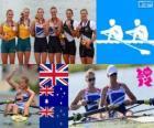 Podio remo dos sin timonel femenino, Helen Glover, Heather Stanning (Reino Unido), Kate Hornsey, Sarah Tait (Australia) y Juliette Haigh, Rebecca Scown (Nueva Zelanda) - Londres 2012 -