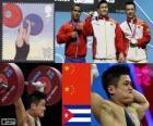 Podio Halterofilia 77kg hombres, Lu Xiaojun, Wu Jingbao (China) y Iván Cambar Rodríguez (Cuba) - Londres 2012 -