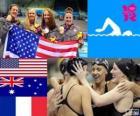 Podio natación relevo 4 x 200 metros estilo libre femenino, Estados Unidos, Australia y Francia