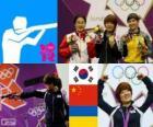 Podio pistola 25 m femenino, Kim Jang-Mi (Corea del sur), Chen Ying (China) y Olena Kostevych (Ucrania) - Londres 2012 -