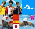 Podio natación 200 m mariposa femenino, Jiao Liuyang (China), Mireia Belmonte (España) y Natsumi Koshi (Japón) - London 2012 -