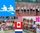Podio Remo 8 con timonel femenino, Estados Unidos, Canadá y Países Bajos - Londres 2012 -