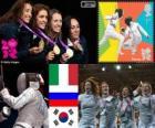 Podio esgrima florete por equipos femenino, Italia, Rusia y Corea del Sur - Londres 2012 -