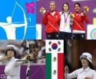 Podio tiro con arco femenino individual, Ki Bo-Bae (Corea del Sur), Aída Román y Mariana Avitia (México) - Londres 2012 -