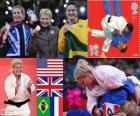 Podio Judo femenino - 78 kg, Kayla Harrison (Estados Unidos), Gemma Gibbons (Reino Unido) y Mayra Aguiar (Brasil), Audrey Tcheuméo (Francia) - Londres 2012 -
