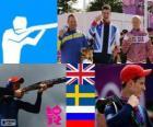 Podio Tiro doble foso masculino, Peter Robert Wilson (Reino Unido), Håkan Dahlby (Suecia) y Vasili Mosin (Rusia) - Londres 2012 -
