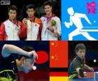 Podio tenis de mesa masculino individual, Zhang Jike, Wang Hao (China) y Dimitrij Ovtcharov (Alemania) - Londres 2012 -