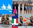 Podio Remo doble scull masculino, Nathan Cohen, Joseph Sullivan (Nueva Zelanda), Alessio Sartori, Romano Battisti (Italia) y Luka Špik Iztok Čop (Eslovenia) - Londres 2012 -