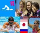 Podio natación 200 metros estilo braza femenino, Rebecca Soni (Estados Unidos), Satomi Suzuki (Japón) y Yulia Efimova (Rusia) - Londres 2012 -
