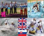 Podio Piragüismo eslalon C2 masculino, Tim Baillie, Etienne Stott y David Florence, Richard Hounslow (Reino Unido), Pavol Hochschorner, Peter Hochschorner (Eslovaquia) - Londres 2012 -