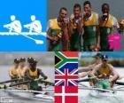 Podio remo 4 sin timonel ligero, Sudáfrica, Reino Unido y Dinamarca - Londres 2012 -