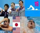 Podio natación 200 metros estilo espalda masculino, Tyler Clary (Estados Unidos), Ryosuke Irie (Japón) y Ryan Lochte (Estados Unidos) - Londres 2012 -