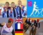 Podio ciclismo de pista velocidad por equipos masculino, Reino Unido, Francia y Alemania - Londres 2012 -