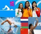 Podio natación 100 metros estilo libre femenino, Ranomi Kromowidjojo (Países Bajos), Aliaxandra Herasimenia (Bielorrusia) y Tang Yi (China) - Londres 2012 -