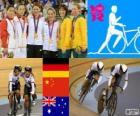 Podio ciclismo de pista velocidad por equipos femenino, Kristina Vogel, Miriam Welte (Alemania), Gong Jinjie, Guo Shuang (China) y Kaarle McCulloch, Anna Meares (Australia) - Londres 2012 -