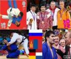 Podio Judo masculino - 100 kg, Tagir Khaibulaev (Rusia), Tuvshinbayar Naidan (Mongolia) y Dimitri Peters (Alemania), Henk Grol (Países Bajos) - Londres 2012 -