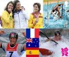 Podio Piragüismo K1 femenino, Emilie Fer (Francia), Jessica Fox (Australia) y Maialen Chourraut (España) - Londres 2012 -