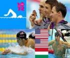 Podio natación 200 m cuatro estilos masculinos, Michael Phelps, Ryan Lochte (Estados Unidos) y László Cseh (Hungría) - Londres 2012 -