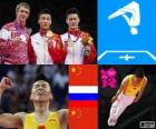 Podio gimnasia en trampolín masculino, Dong Dong (China), Dmitri Ushakov (Rusia) y Lu Chunlong (China) - Londres 2012 -
