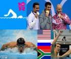 Podio natación 100 metros estilo mariposa masculino, Michael Phelps (Estados Unidos), Evgeni Korotyshkin (Rusia) y Chad le Clos (Sudáfrica) - Londres 2012 -
