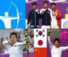 Podio tiro con arco masculino individual, Oh Jin-Hyek (Corea del Sur), Takaharu Furukawa (Japón) y Dai Xiaoxiang (China) - Londres 2012 -