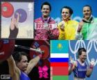 Podio Halterofilia 75 kg femenino, Svetlana Podobedova (Kazajistán), Natalia Zabolotnaya (Rusia) y Iryna Kulesha (Bielorrusia) - Londres 2012 -