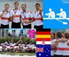 Podio Remo Cuádruple scull masculino, Alemania, Croacia y Australia - Londres 2012 -