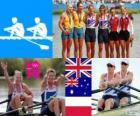 Podio Remo doble espadilla femenino, Anna Watkins, Katherine Grainger (Reino Unido), Kim Crow, Brooke Pratley (Australia) y Magdalena Fularczyk, Julia Michalska (Polonia) - Londres 2012 -