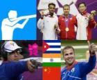 Podio Tiro Pistola rápida de fuego a 25 metros masculino, Leuris Pupo (Cuba), Vijay Kumar (India) y Ding Feng (China) - Londres 2012 -