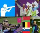 Podio Tiro Rifle en posición tendida a 50 metros masculino, Sergéi Martynov (Bielorrusia), Lionel Cox (Bélgica) y Rajmond Debevec (Eslovenia) - Londres 2012 -