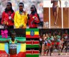 Podio Atletismo 10.000 metros femenino, Tirunesh Dibaba (Etiopía), Sally Kipyego y  Vivian Cheruiyot (Kenia) - Londres 2012 -