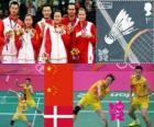 Podio Bádminton doble mixto, Zhang Nan, Zhao Yunlei (China), Xu Chen, Ma Jin (China) y Joachim Fischer, Christinna Pedersen (Dinamarca) - Londres 2012 -