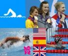 Podio natación 800 metros estilo libre femenino, Katie Ledecky (Estados Unidos), Mireia Belmonte (España) y Rebecca Adlington (Reino Unido) - Londres 2012 -