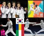 Podio esgrima sable por equipos masculino, Corea del sur, Rumania, Italia - Londres 2012 -