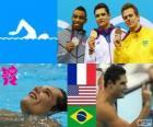 Podio natación 50 metros estilo libre masculino, Florent Manaudou (Francia), Cullen Jones (Estados Unidos) y César Cielo (Brasil) - Londres 2012 -