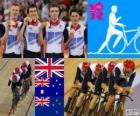 Podio ciclismo de pista persecución por equipos 4000 m masculino, Reino Unido, Australia y Nueva Zelanda - Londres 2012 -