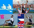 Podio Remo espadilla individual masculino, Mahe Drysdale (Nueva Zelanda), Ondřej Synek (República Checa) y Alan Campbell (Reino Unido) - Londres 2012 -