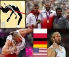 Podio Atletismo Peso masculino, Tomasz Majewski (Polonia), David Storl (Alemania) y Reese Hoffa (Estados Unidos) - Londres 2012 -
