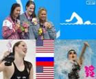 Podio natación 200 metros espalda femenino, Missy Franklin (Estados Unidos), Anastasia Zueva (Rusia) y Elizabeth Beisel (Estados Unidos) - Londres 2012 -