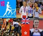 Podio ciclismo de pista Keirin femenino, Victoria Pendleton (Reino Unido), Guo Shuang (China) y Lee Wai-Sze (Hong Kong) - Londres 2012 -