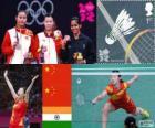 Podio Bádminton individual femenino, Li Xuerui (China), Wang Yihan (China) y Saina Nehwal (India) - Londres 2012 -