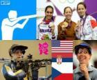 Podio tiro Rifle de 3 posiciones a 50 metros femenino, Jamie Lynn Gray (Estados Unidos), Ivana Maksimović (Serbia) y Adéla Sýkorová (República Checa) - Londres 2012 -