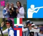Podio tiro foso femenino, Jessica Rossi (Italia), Zuzana Štefečeková (Eslovaquia) y Delphine Reau (Francia) - Londres 2012 -