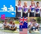 Podio remo 4 sin timonel masculino, Reino Unido, Australia y Estados Unidos - Londres 2012 -