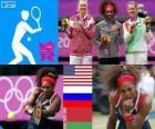 Podio tenis individual femenino, Serena Williams (Estados Unidos), María Sharapova (Rusia) y Victoria Azarenka (Bielorrusia) - Londres 2012 -