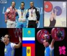 Podio Halterofilia 94 kg masculino, Ilya Ilyin (Kazajistán), Alexandr Ivanov (Rusia) y Anatoli Ciricu (Moldavia) - Londres 2012 -