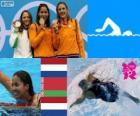 Podio natación 50 metros estilo libre femenino, Ranomi Kromowidjojo (Países Bajos), Aliaxandra Herasimenia (Bielorrusia) y Marleen Veldhuis (Países Bajos) - Londres 2012 -